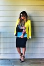 Yellow-bright-colors-zara-blazer-sky-blue-metallic-clutch-ysl-bag