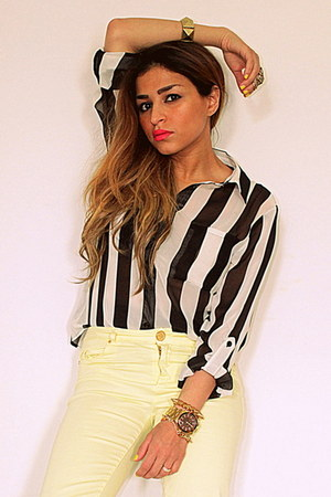 light yellow Zara jeans - black stripes Forever 21 shirt - black Mango heels