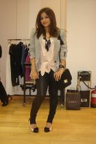 gray Zara blazer - pink Newlook top - black leggings - black necklace - black pu