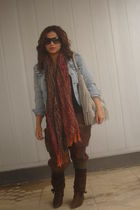 blue H&M jacket - brown malasyia panties - brown boots - orange scarf - gray pur