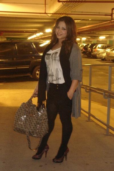 gray Mango sweater - black scarf - black H&M shorts - white Mango top - silver G