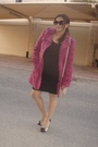 Brown-h-m-dress-pink-vintage-coat-pink-stradivaroius-purse-pink-newlook-sh