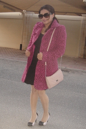 brown H&amp;M dress - pink vintage coat - pink Stradivaroius purse - pink Newlook sh