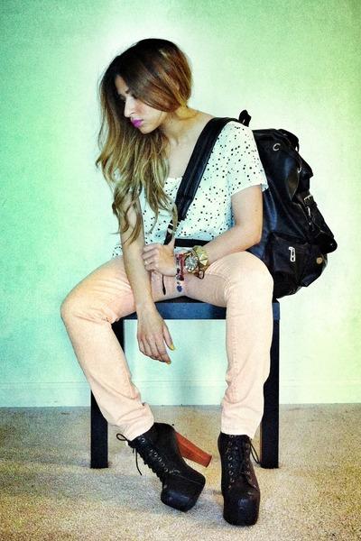 stars print Forever 21 shirt - coral pastel Forever 21 jeans