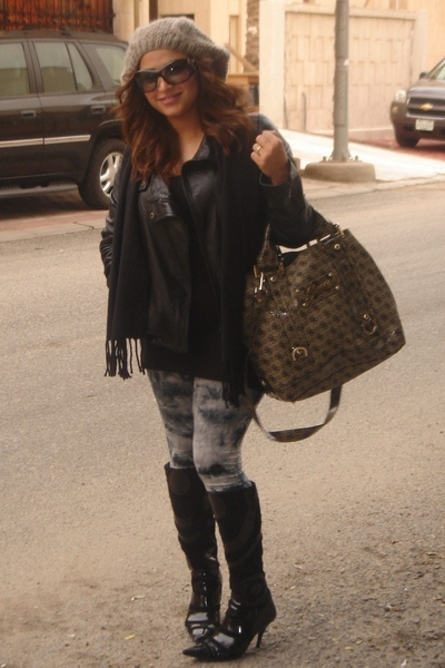 black Mango jacket - silver H&amp;M leggings - black vintage boots - gray Guess acce