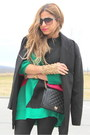 Green-romwe-sweater-black-zara-boots-black-forever-21-coat