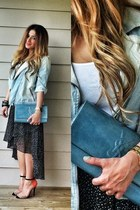 black Forever 21 skirt - light blue denim biker Promod jacket