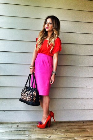 black leopard print Nine West bag - red Zara shirt - hot pink Zara skirt