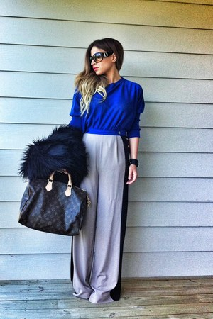 silver hight waisted new look pants - brown Louis Vuitton bag - blue romwe top