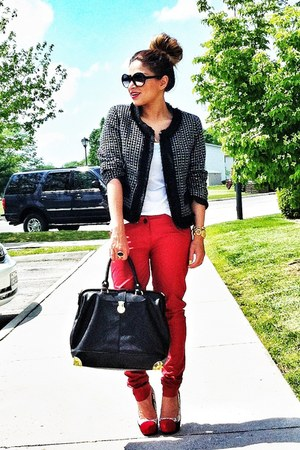 red Bershka pants - black Forever 21 jacket - black JustFab bag