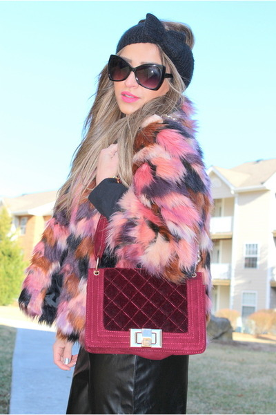 faux fur jacket riverisland jacket - asos hat - Shoedazzle purse
