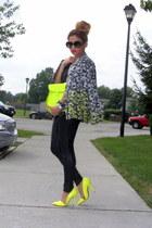 black ombre floral H&M blazer - black Zara leggings