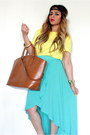 Aquamarine-asymmetrical-forever-21-skirt-yellow-zara-shirt-bronze-zara-bag