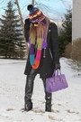 Black-zara-coat-black-ae-hat-black-ae-scarf-purple-lancelot-knight-bag