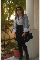 white shirt - blue jacket - black skirt - black shoes - black tights