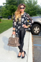 skull print Nasty Gal shirt - Stradivarius leggings - balenciaga bag