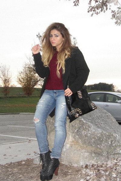 black Jeffrey Campbell boots - black Forever 21 coat - maroon Forever 21 sweater