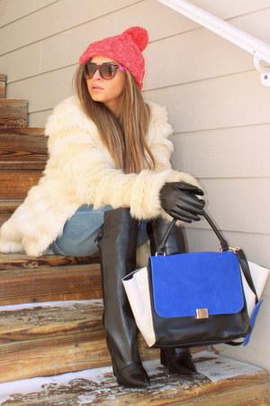 9a8496c5179 white fur coat asos coat - black Zara boots - bubble gum beanie asos hat