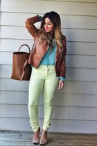 bronze leather biker Zara jacket - light yellow Zara jeans