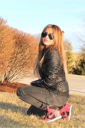 black biker jacket MINUSEY jacket - gray ae jeans - red nike sneakers