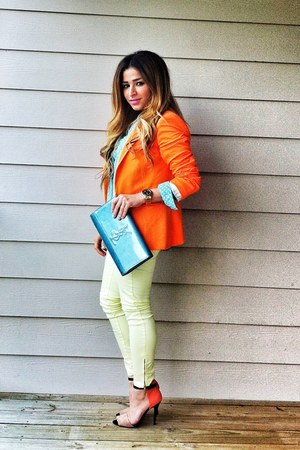 orange Zara blazer - sky blue metallic clutch YSL bag