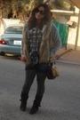 Gray-zara-sweater-brown-stradivarious-vest-blue-zara-shorts-brown-h-m-purs