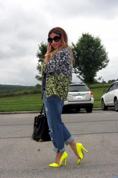 dipdye H&M jacket - Forever 21 jeans - Prada sunglasses - neon Shoedazzle pumps