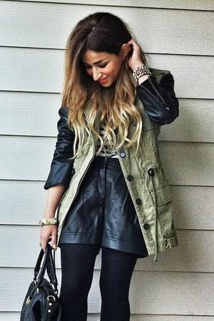 olive green parka Zara jacket - white striped Zara shirt - black just fab bag