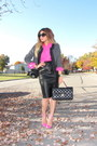 Black-forever-21-jacket-hot-pink-forever-21-shirt-black-chanel-bag