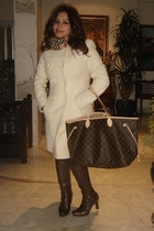 white coat - brown LV accessories - brown boots - brown leggings - beige Burberr