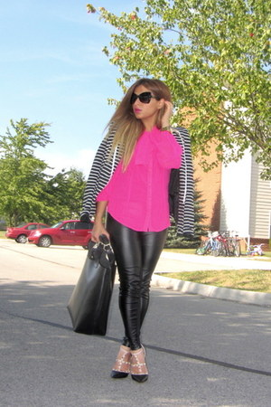 black striped blazer Forever 21 blazer - hot pink Forever 21 shirt