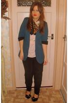 black Topshop pants - blue vintage scarf - pink Topshop top