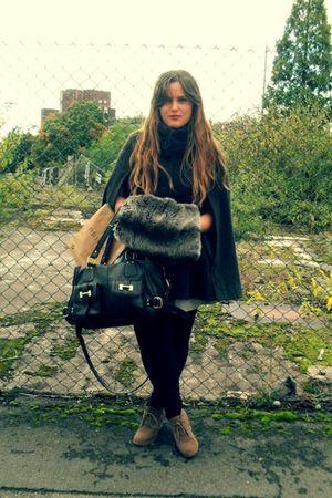 gray Oasis coat - gray accessories - beige asos boots