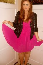 pink warehouse dress - black Topshop jacket