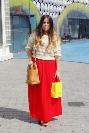 red Primark skirt - tan vintage bag