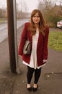 Red-vintage-blazer-white-primark-dress-silver-marc-b-purse