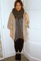 black Aldo boots - blue Primark shirt - gray Topshop scarf