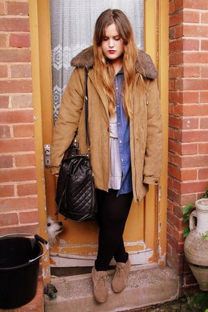 beige wedge asos boots - beige fur collar TK Maxx coat