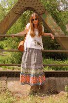 brown thrifted purse - gold asos necklace - orange Primark skirt