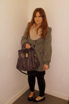pink Topshop sweater - gray Primark coat - purple Ri2K purse