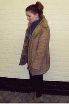 camel thrifted jacket - blue Primark shirt - beige asos boots
