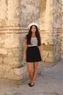 White-marine-something-hat-black-bershka-skirt