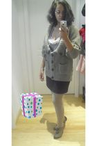 beige 3 suisses cardigan - beige 3 suisses top - brown H&M skirt - beige H&M tig