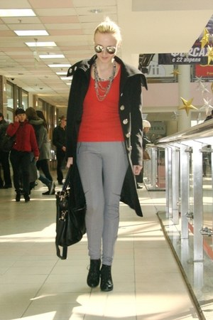 black Zara boots - black Heine coat - heather gray H&M leggings - red H&M shirt