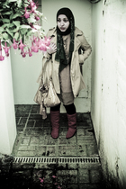 scarf - Top Shop jacket - Primark dress - Nine West accessories - D2 boots