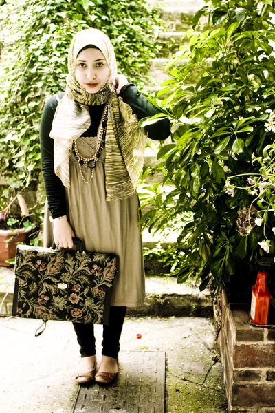 green Uniqlo dress - beige Faith shoes - black vintage accessories