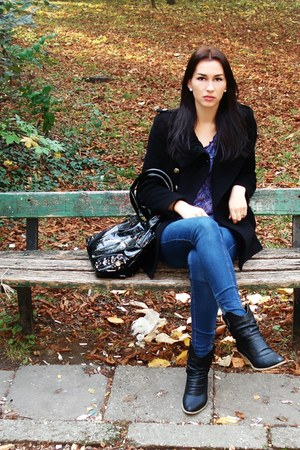 black Real boots - navy jeans Bershka jeans - black Excess jacket