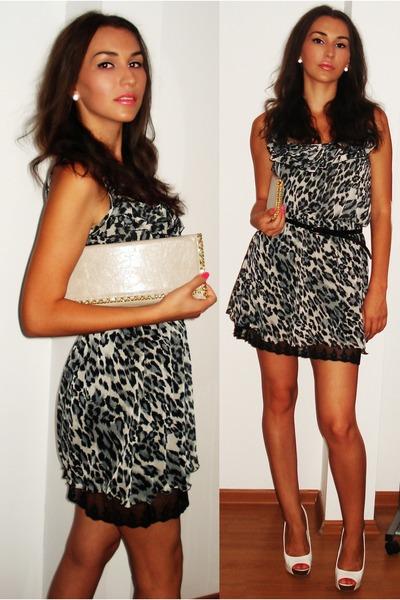 white leather Bershka pumps - black Boohoo dress - beige uk bag