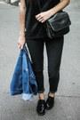 Black-bershka-jeans-black-new-yorker-hat-blue-denim-miss-selfridge-jacket