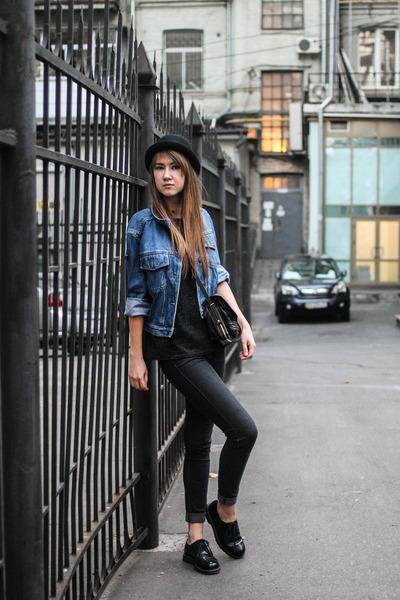 black Bershka jeans - black New Yorker hat - blue denim Miss Selfridge jacket